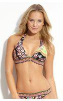 Trina Turk Buckle Front Bikini Top - Lyst