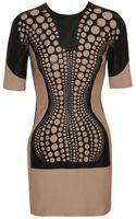 David Koma Laser Cut Leather and Wool Dress - Lyst