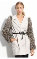 Robert Rodriguez Faux Fur Sleeve Coat - Lyst