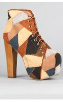 Jeffrey Campbell The Lita Patch Shoe in Tan Suede Combo - Lyst