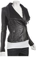 Michael by Michael Kors Black Leather Knit Trim Asymmetrical Zip Jacket - Lyst