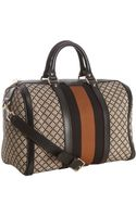 Gucci Black and Beige Diamante Canvas Vintage Web Medium Boston Bag - Lyst