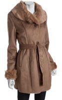 Anne Klein Camel Faux Sherling Belted Three Quarter Length Coat - Lyst