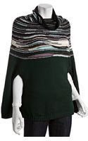 M Missoni Dark Green Wool Blend Stripe Trim Poncho Sweater - Lyst