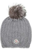 Moncler Grey Fur Pom_pom Beanie - Lyst