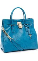 Michael by Michael Kors Large Hamilton Ostrich-embossed Tote, Turquoise - Lyst