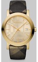 Burberry Check Accented Round Watch/gold Ip - Lyst