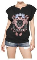 Pierre Balmain Printed Cotton Fleece T-shirt - Lyst
