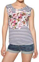 Stella McCartney Flower Print Stripey Jersey Tank Top - Lyst
