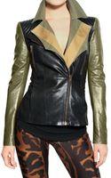 Alexander McQueen Cotton Gabardine & Nappa Leather Jacket - Lyst
