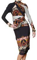 Etro Gathered Printed Silk Crepe Dress - Lyst
