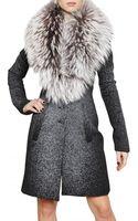Jean-Pierre Braganza Racoon Collar Printed Wool Coat - Lyst