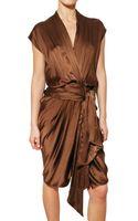 Lanvin Draped Washed Silk Satin Dress - Lyst