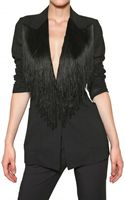 Maison Martin Margiela Fringed Wool Cotton Light Gauze Jacket - Lyst