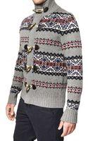 Tommy Hilfiger Jacquard Wool Knit Cardigan Sweater - Lyst