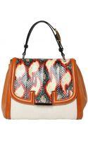 Fendi Silvana Elaphe & Leather Top Handle - Lyst