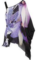 Roberto Cavalli Printed Silk-Chiffon One-Shoulder Top - Lyst