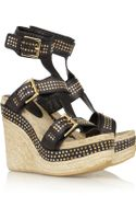 Alexander McQueen Studded Leather Espadrille Wedge Sandals - Lyst