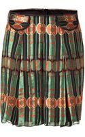 Anna Sui Dusty Jade/black Pleated Silk Skirt - Lyst