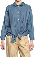 Licia Florio Oversize Denim Bow Shirt - Lyst