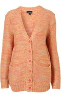 Topshop Knitted Fluro Stitch Cardi - Lyst