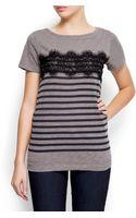 Mango Lace Cotton T-shirt - Lyst