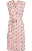 Tucker Pink Floral Print Silk Sleeveless Dress - Lyst