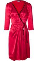 Philosophy di Alberta Ferretti Pink Silk Wrap Dress - Lyst