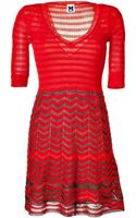 Missoni M Glaring Red Knitted Dress - Lyst