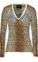 D&G Leopard Print V-neck Sweater - Lyst
