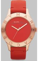 Marc By Marc Jacobs Rose Goldtone Ion-plated Logo Matte Leather Watch/red - Lyst