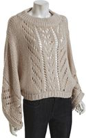 Halston Heritage Champagne Pointelle Oversize Cropped Poncho - Lyst
