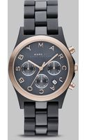 Marc By Marc Jacobs Gray & Rose Gold Ion Plated Chronograph Watch - Lyst