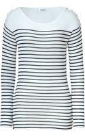 Steffen Schraut Navy Sailor Stripe Button Crew Neck Sweater - Lyst