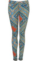 Moto Baroque Print Skinny Jeans - Lyst
