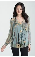 Citron Cherry Blossom Silk Blouse with Camisole - Lyst