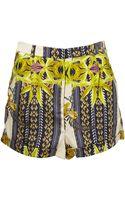 Topshop High Waist Scarf Print Shorts - Lyst