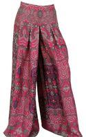Saint Laurent Habotai Silk Wide Pleated Trousers - Lyst