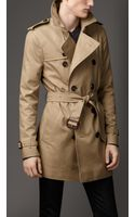Burberry Cotton Blend Trench Coat - Lyst