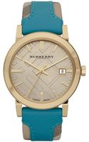 Burberry Check Stamped Leather Strap Watch - Lyst