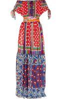 D&G Offtheshoulder Printed Silkchiffon Maxi Dress - Lyst