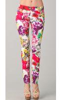 Alice + Olivia 5 Pocket Floral Skinny Jeans - Lyst