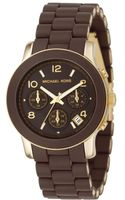 Michael Kors Womens Chronograph Brown Polyurethane and Goldtone Stainless Steel Bracelet 39mm - Lyst