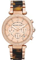 Michael Kors Chronograph Tortoise Acetate and Rose Gold Tone Stainless Steel Bracelet 39mm - Lyst