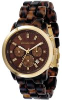 Michael Kors Womens Chronograph Stainless Steel and Tortoise Acrylic Bracelet 44mm - Lyst