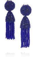 Oscar de la Renta Beaded Tassel Clip Earrings - Lyst