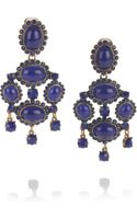 Oscar de la Renta 24karat Goldplated Cabochon Clip Earrings - Lyst
