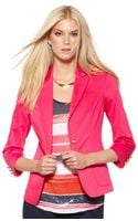 Vince Camuto V Neck Three Quarter Buttoned Fitted Blazer - Lyst