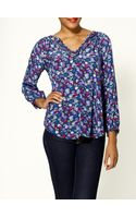 Rebecca Taylor Polka Dot Daisy Printed Tie Silk Blouse - Lyst