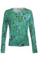 Bottega Veneta Root Printed Silkcashmere Knit Cardigan - Lyst